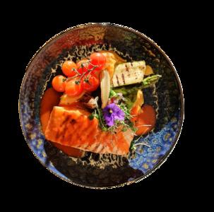 Gegrilde zalmhaas, gegrilde groenten, paprikacoulis, rode pestopuree